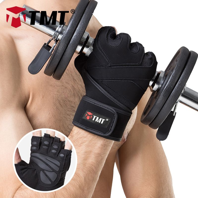 TMT Sports Gym Gloves Half Finger Breathable Weightlifting Fitness Gloves Dumbbell Men Women Body Building Gym Gloves M/L/XL