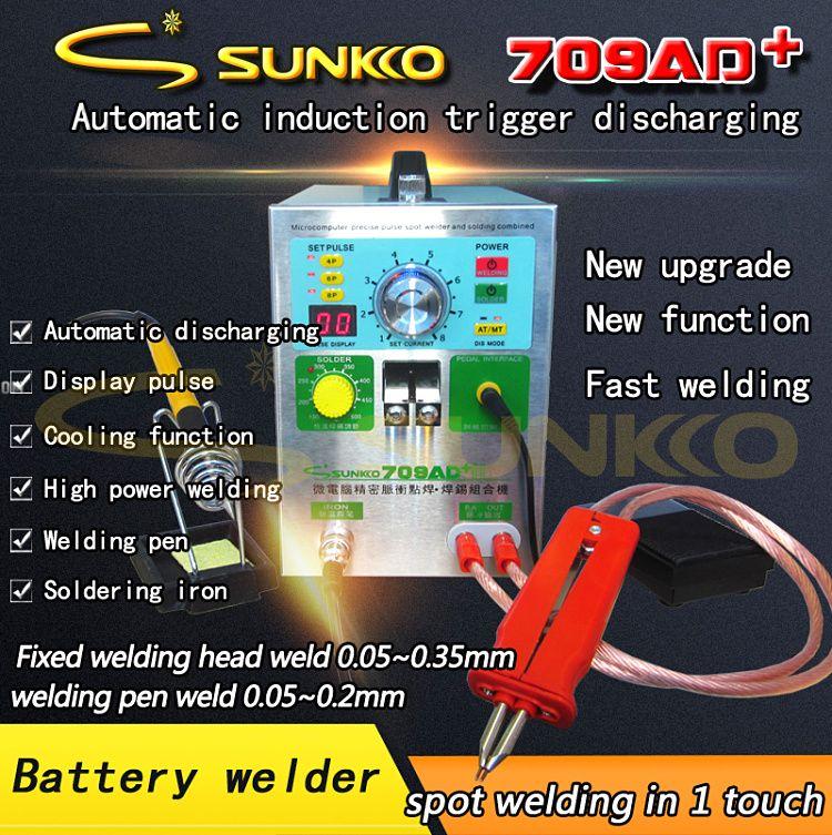 SUNKKO 709AD+ 4 IN 1 Welding machine fixed pulse welding constant temperature soldering Triggered induction spot welding HB-70B