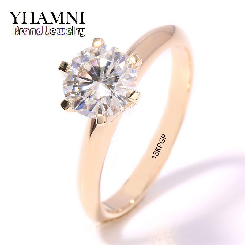 YHAMNI fashion jewelry Have 18KRGP Stamp Original Yellow Gold Ring single CZ Zircon Women Wedding gold Rings JR169