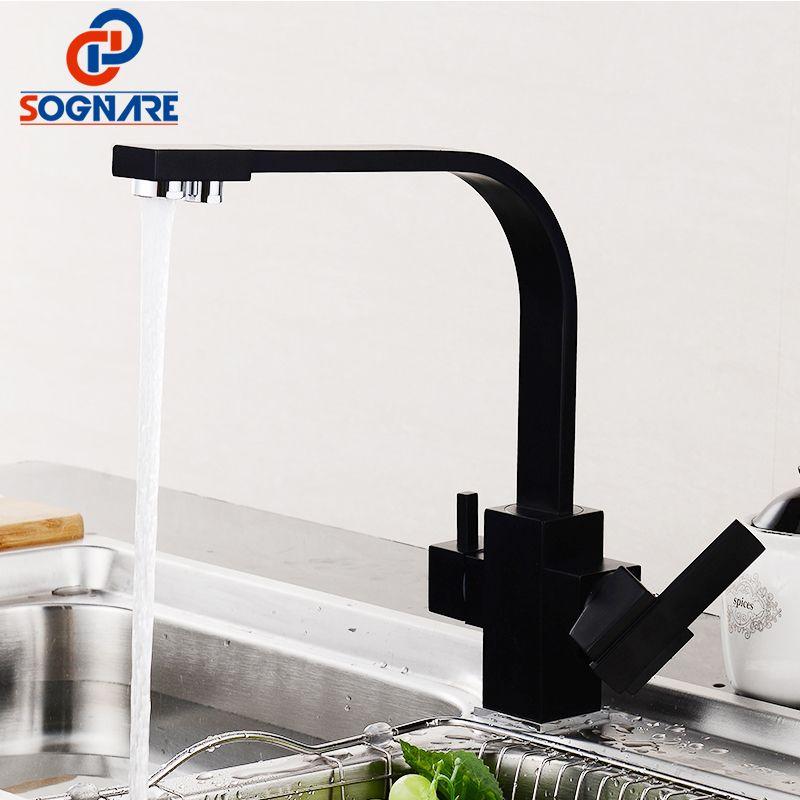 Черный квадрат Смесители для кухни 360 градусов вращения 3 Way фильтр для воды водопроводной воды Смесители твердой латуни Кухня Раковина Водо...