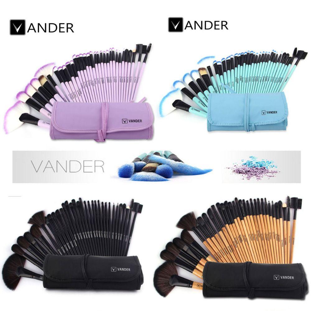 Ensemble de pinceaux de maquillage VANDER 32 pièces pinceaux cosmétiques professionnels fond de teint sourcils ombres Kabuki Kits d'outils de maquillage + sac pochette