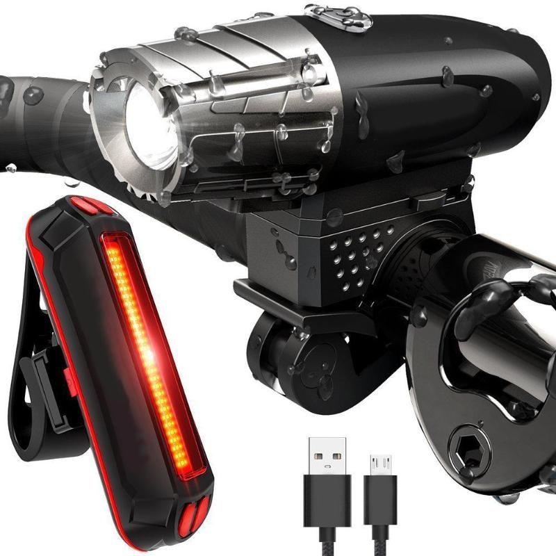 Wasserdicht MTB Bike Vorne Lenker + Hinten Schwanz Lichter Lampe USB Aufladen Fahrrad Licht 4 modi Scheinwerfer Radfahren Licht Sets