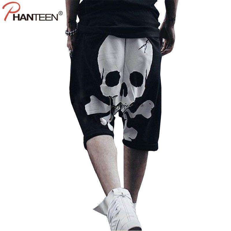 Phanteen Skull Print Halloween Man Harem Pants Hiphop Punk Street Style Cross-pants Casual Loose Sweatpants Fashion Men Trousers