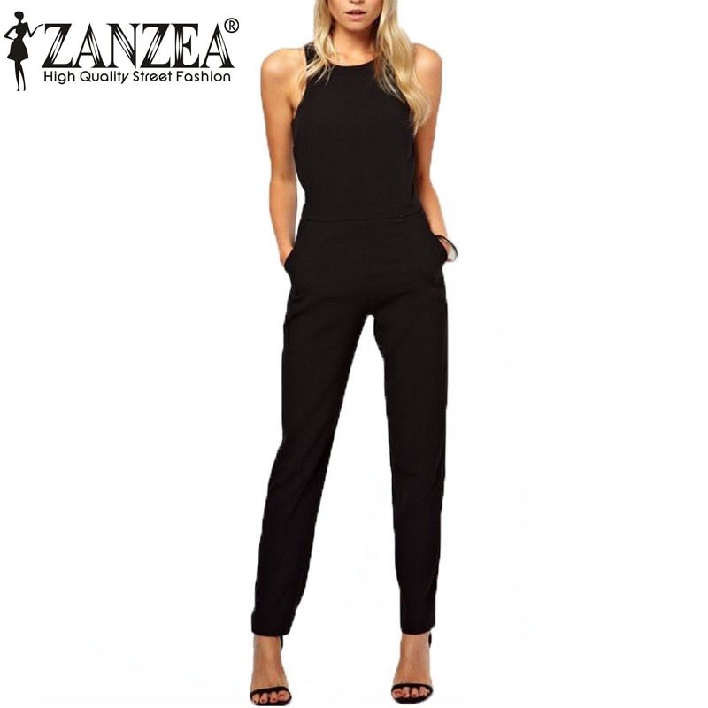 Plus Size Overalls Summer <font><b>Style</b></font> 2018 Women Casual Black Back Zipper Hollow Sleeveless Long Playsuits Rompers Womens Jumpsuit