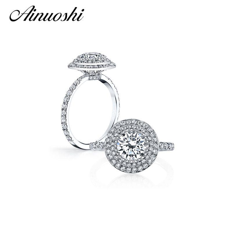 AINOUSHI 2 Carat Two Halo Ring 925 Sterling Silver Round Cut Sona Romantic Engagement Wedding Ring Women Anniversary