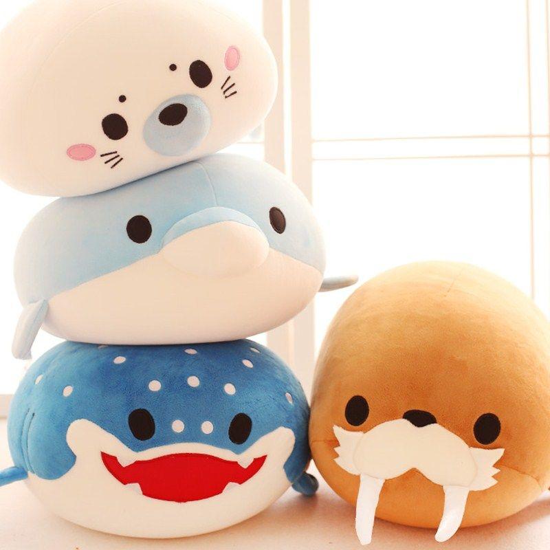 Mignon dauphin, phoques, morses, épaulards, requins baleines jouets en peluche, Ocean Alliance enfants poupée poupées particules de mousse