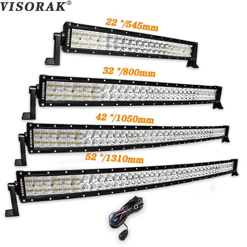 VISORAK 5D 22 32 42 52 inch LED Bar 200W 300W 400W 500W Curved LED Work Light Bar For Tractor OffRoad 4WD 4x4 Car Truck SUV ATV
