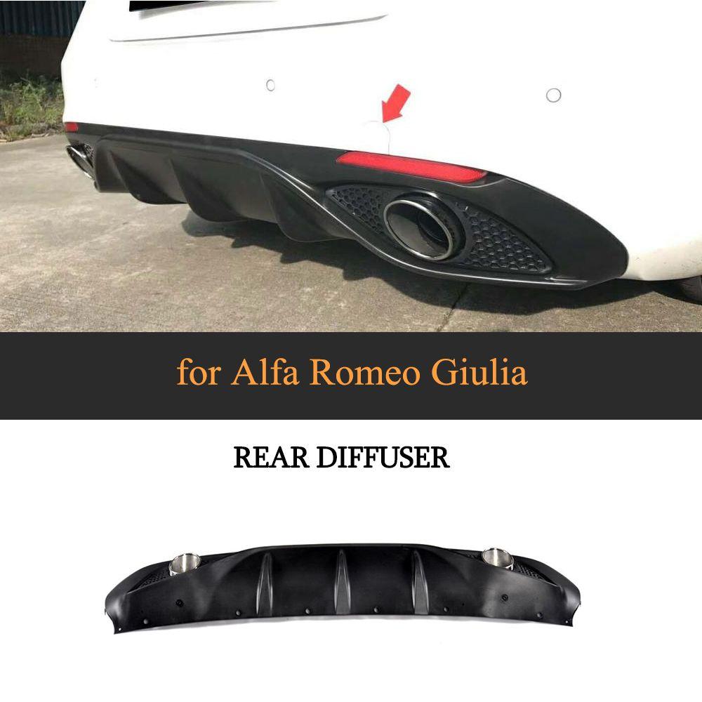 PP Auto Hintere stoßstange Lip Diffusor Spoiler Mit Auspuff für Alfa Romeo Giulia Limousine 4 Tür 2016 2017 Quadrifoglio TI