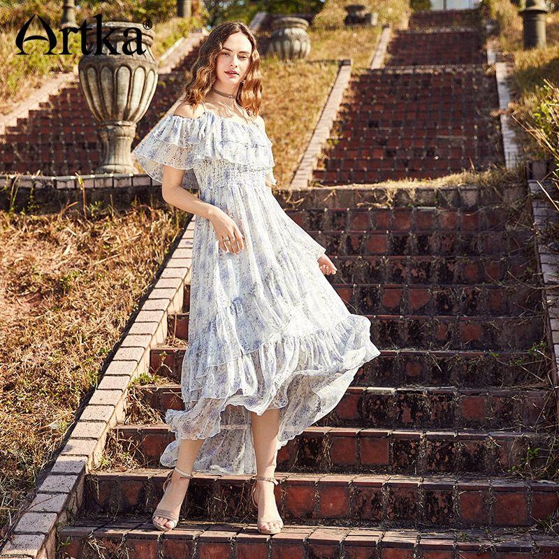 Artka 2018 Summer New Women Ruffles Strapless Big Swing Elastic High Waist Floral Print Irregular Long Dress for Women LA10580X