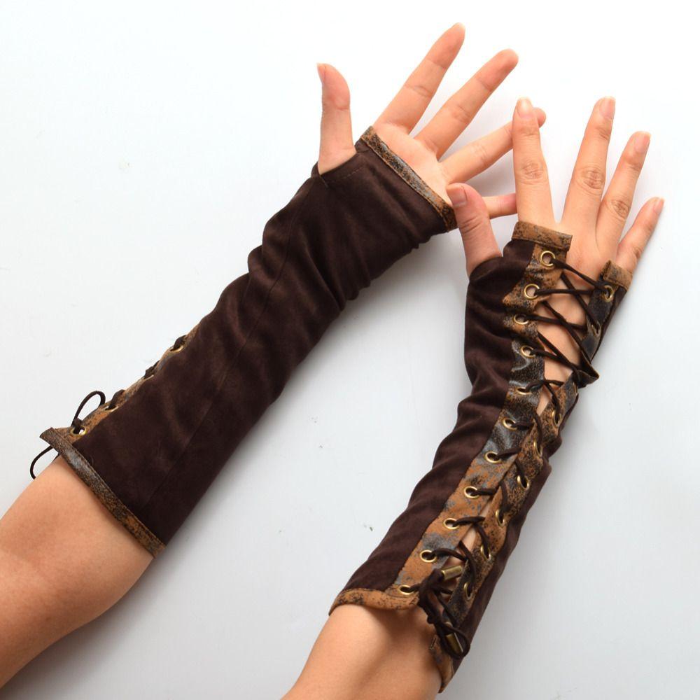 1pair Retro Women Lolita Steampunk Armband Gloves Vintage Victorian Tie-Up Brown Mitten Cosplay Accessory