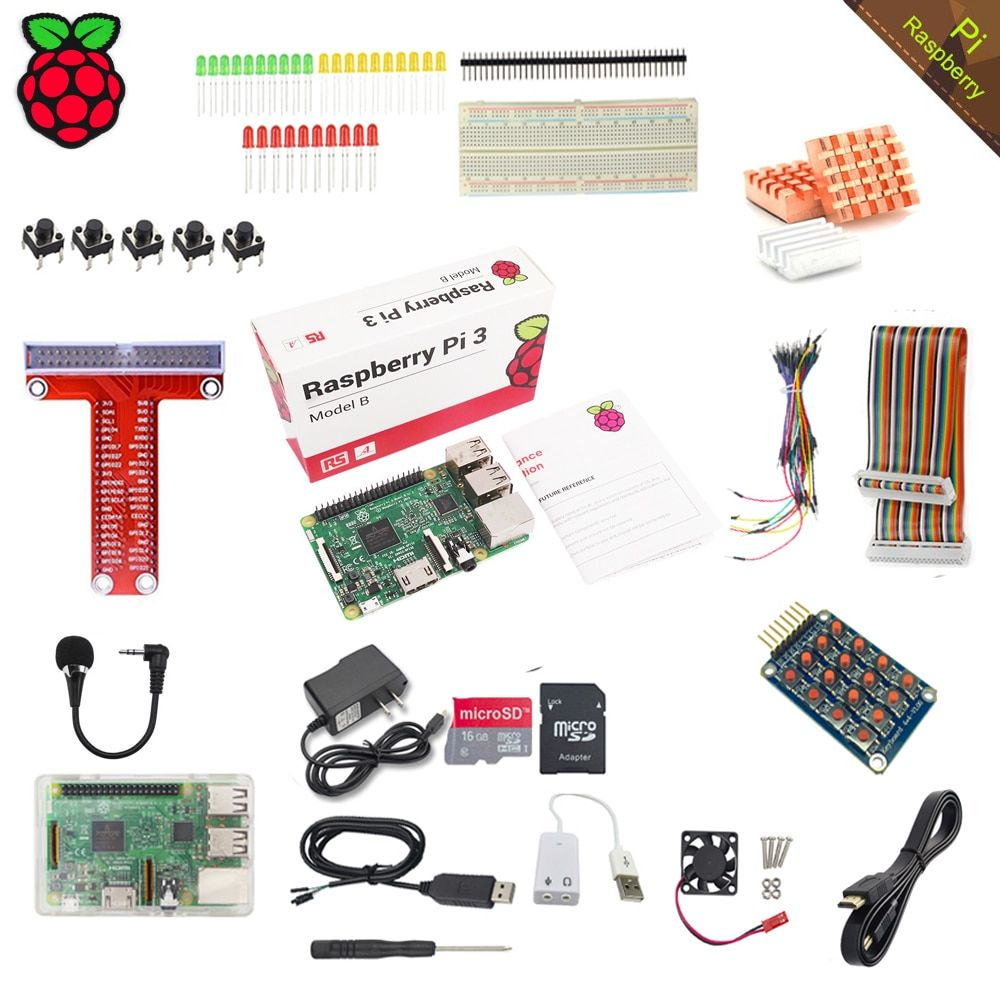 RS Raspberry Pi 3 Model B with Starter Learning Kit+16GB TF Card+2.5A Power Supply+Acrylic Case for Raspberry Pi