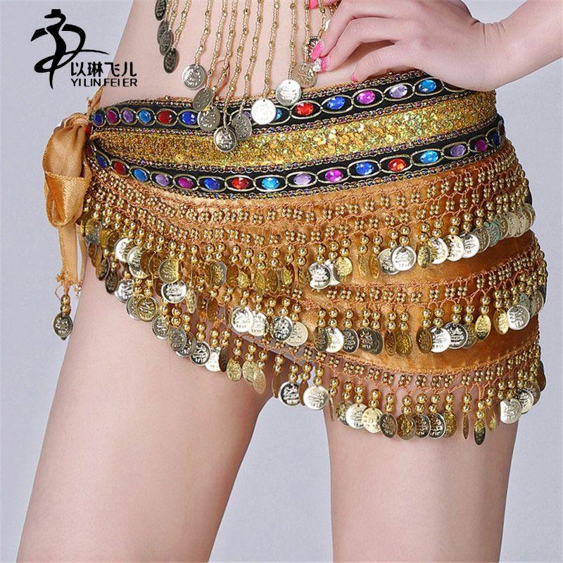 Bufanda de La cadera Danza Del Vientre Danza Del Vientre Cinturón de Danza Del Vientre Hip Bufanda con Monedas y Cuentas de la India