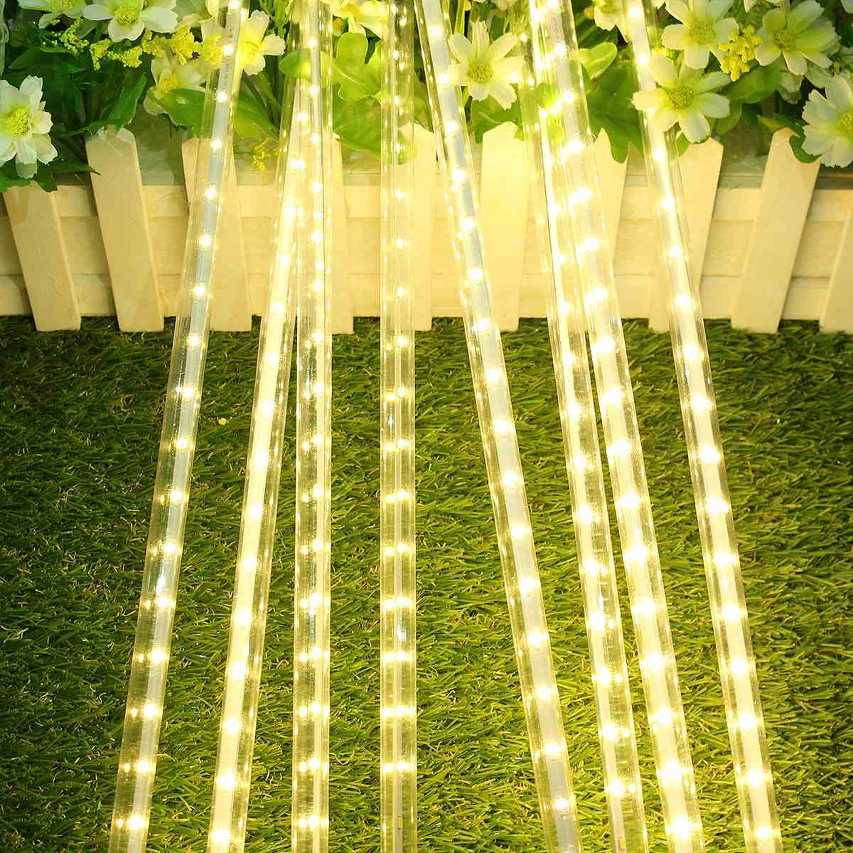 50CM 8 Tube Meteor Shower Rain Light 30 LED Strip Light Waterproof String Light Warm White EU Plug AC 220V