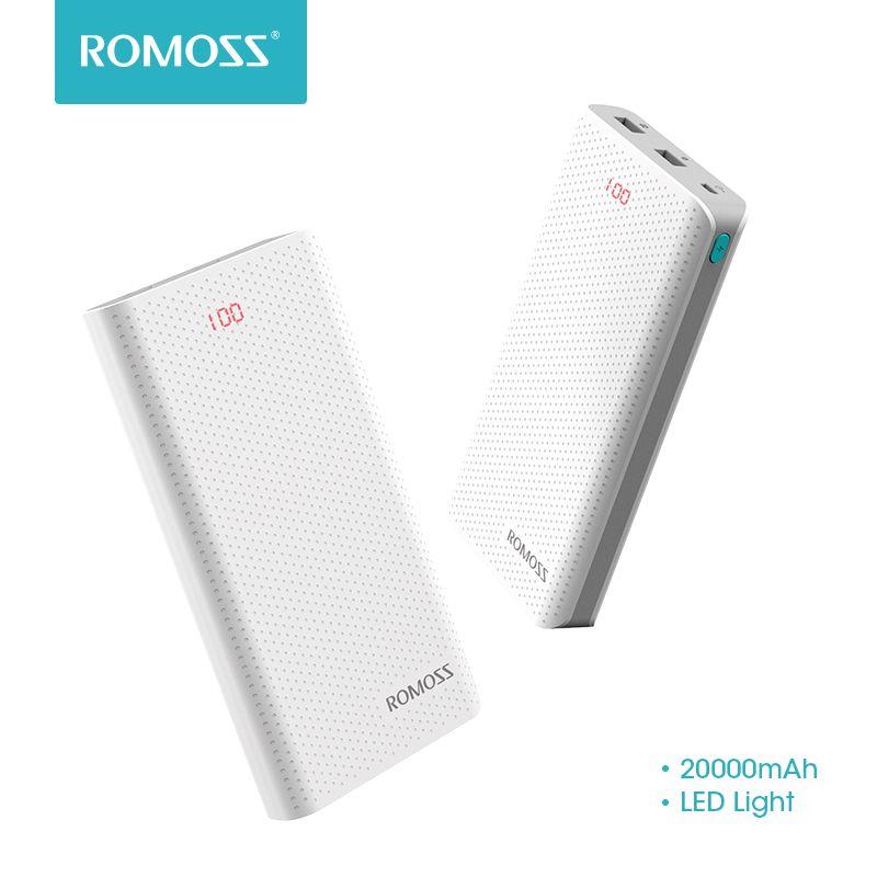 Banque de Puissance de LED du Port de ROMOSS Sense 6 20000 mAh pour la Table de Téléphone