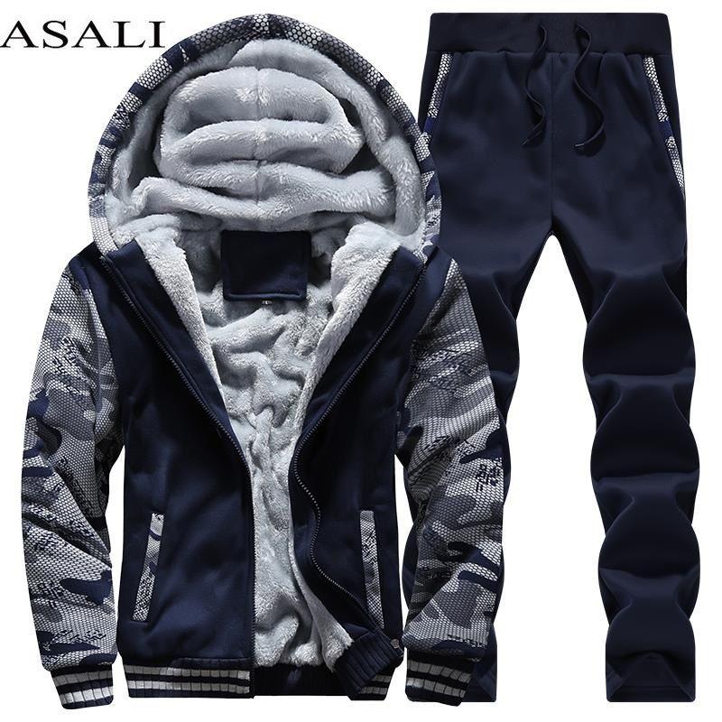 Tracksuit Men Sporting <font><b>Fleece</b></font> Thick Hooded Brand-Clothing Casual Track Suit Men Jacket+Pant Warm Fur Inside Winter Sweatshirt