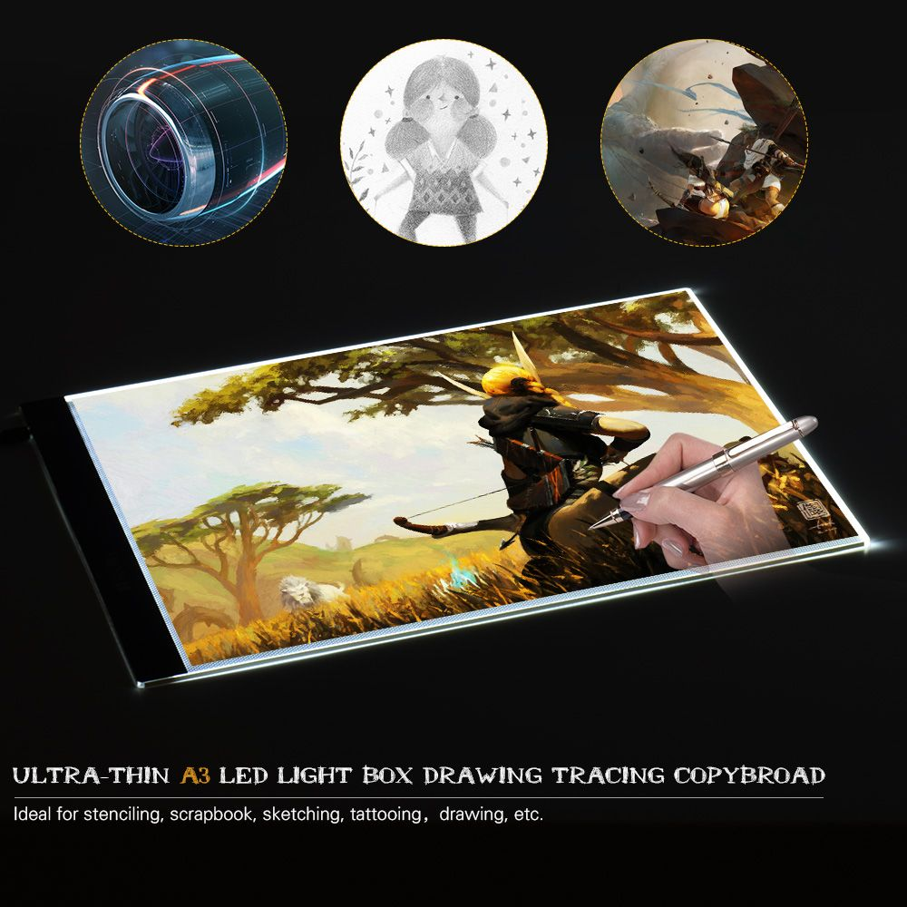 2018 Portable A3 LED Light Box Drawing Tracing Tracer Copy Board Table Pad Panel Memory Brightness Control for drawer learner