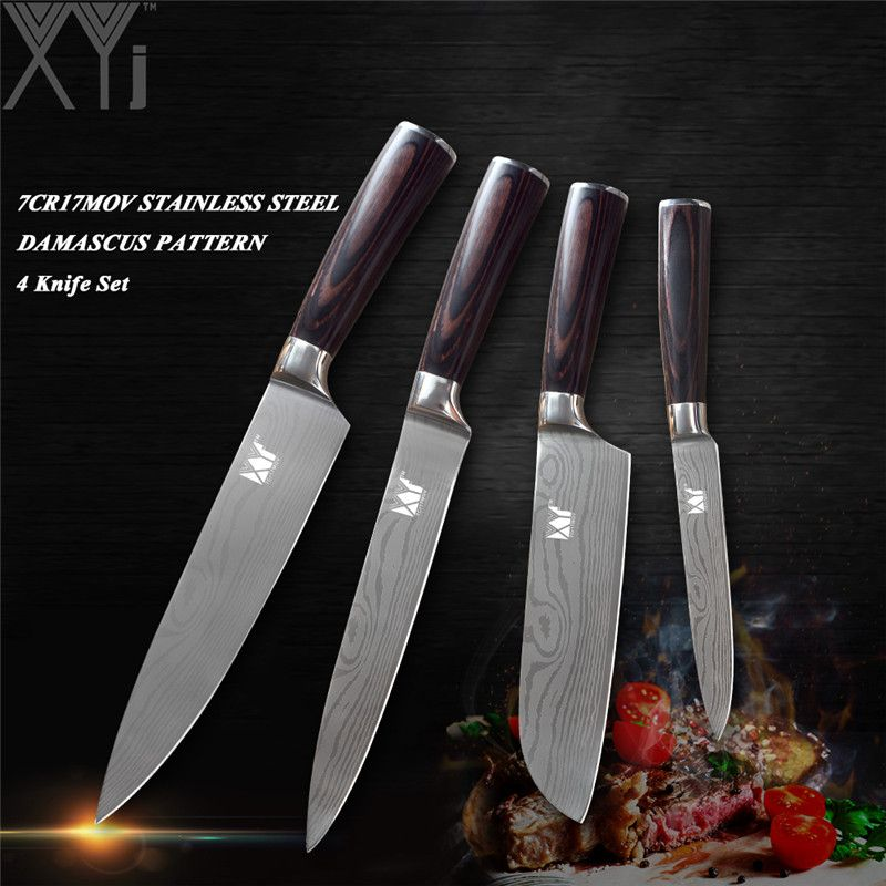 XYj ultradünne Klinge Küchenmesser Set 3,5 ~ 8 Zoll Schäl Utility Santoku Chef Slicer Edelstahl Messer Laser Damaskus Vene