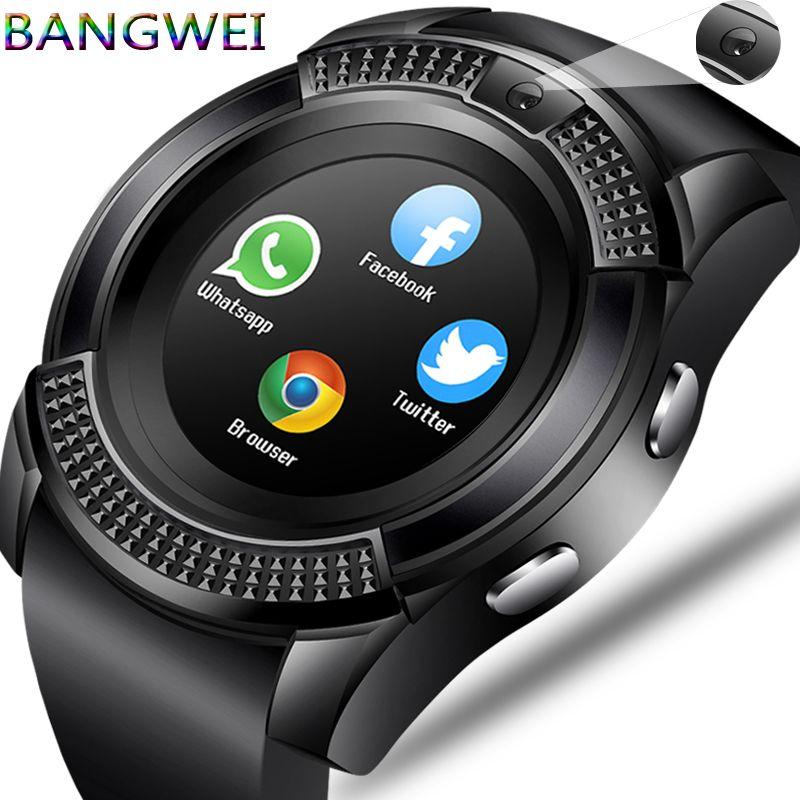 BANGWEI Hommes Femmes Montre Smart Watch Montre-Bracelet de Soutien Avec La Caméra Bluetooth SIM TF Carte Smartwatch Pour Android Téléphone Couple Montre