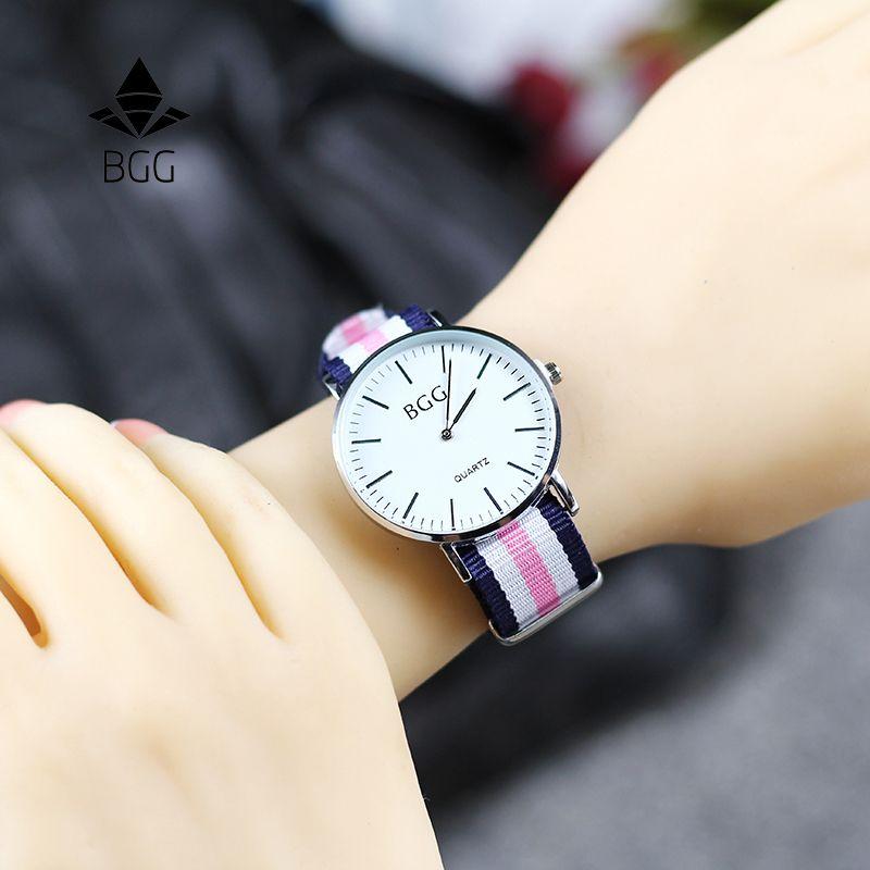 Classic nylon rayas banda de moda relojes BGG marca simple ultra delgado reloj de cuarzo mujeres reloj casual reloj regalos