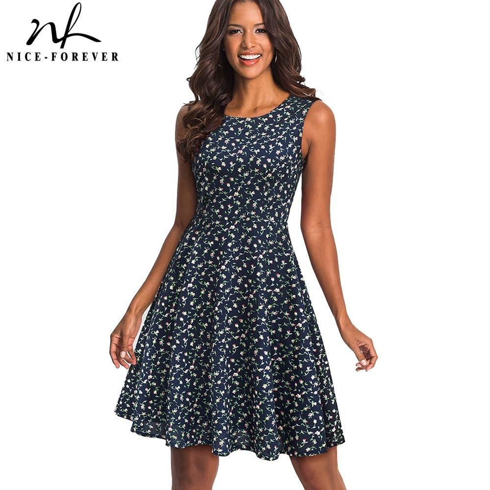Nice-forever Retro 1950's Floral Printed Round Neck vestidos Sleeveless A-Line Female Flare Party Women Spring Dress A086
