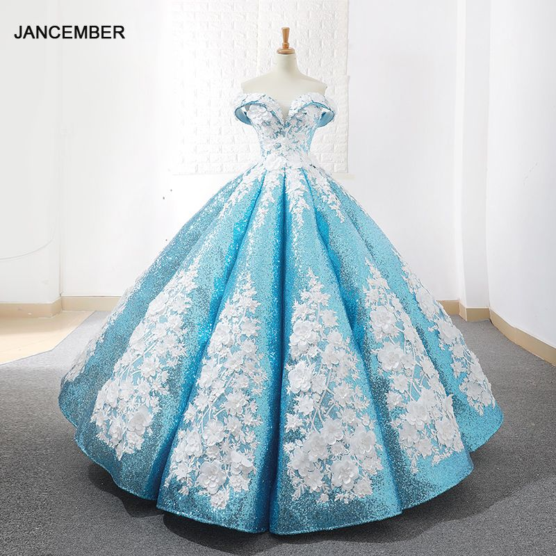 J66662 jancember licht blau quinceanera kleider 2019 geschwollen weg von der schulter weiß blumen debütantin kleider vestido de baile