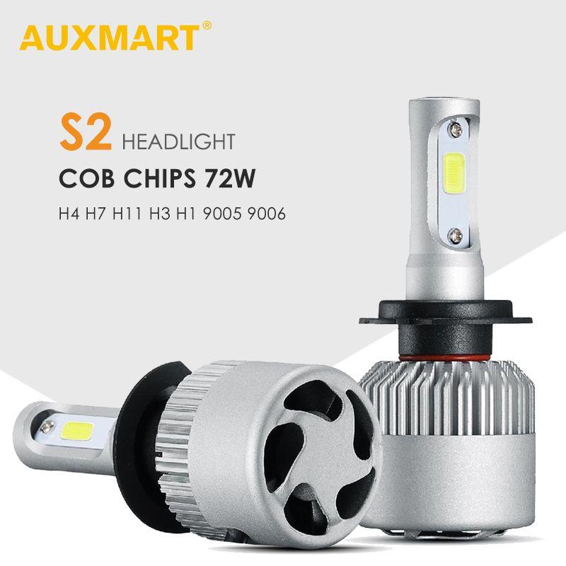 AUXMART H4 H7 ampoule LED Voiture Phare Salut-Lo Faisceau 72W 6500K COB Puces H13 9012 9005 9006 9007 H1 H3 H11 Automibiles lampe frontale à LED