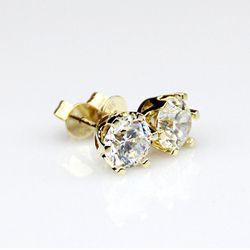 1.0 cttw Putaran Yang Sangat Baik Longgar Moissanite Anting 14 K Kuning Emas Stud Earrings Untuk Wanita Perhiasan Moissanite