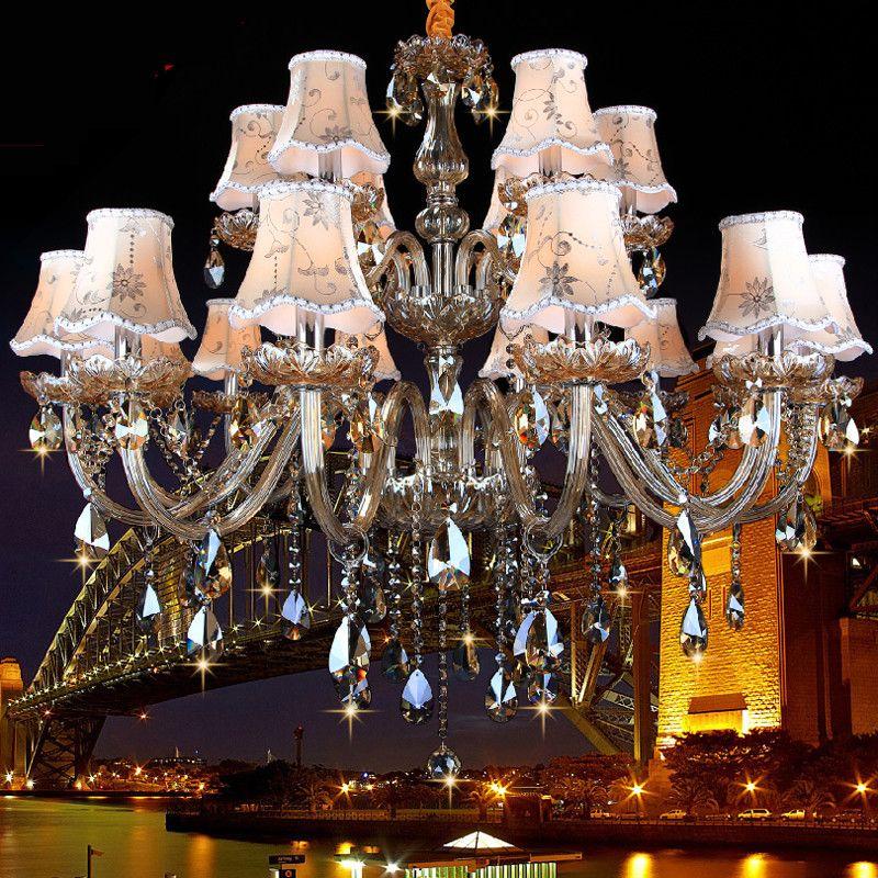 Big kronleuchter leuchte led für Küche wohnzimmer Hotel Kristall licht lamparas de techo K9 Kristall 15/18 Arme lustres de teto