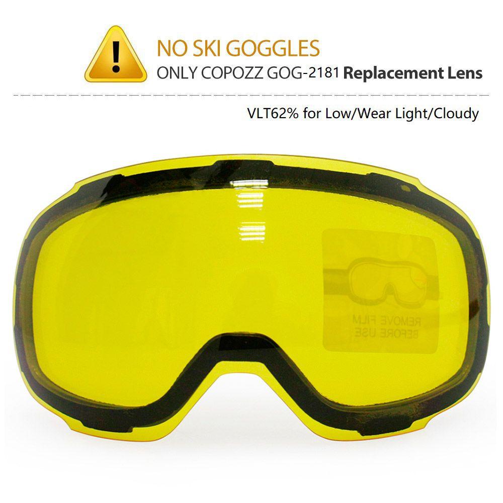 Copozz original gog-2181 lente amarillo apareció magnética para gafas de esquí anti-niebla UV400 esquí esférica Gafas esquí nocturno lente