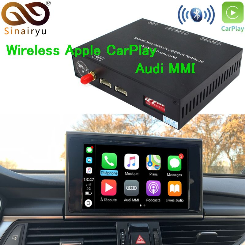 Sinairyu Aftermarket OEM Wireless Apple CarPlay A3 A4 A5 A6 A7 A8 Q3 Q5 Q7 MMI Solution Retrofit with Reverse Camera for Audi