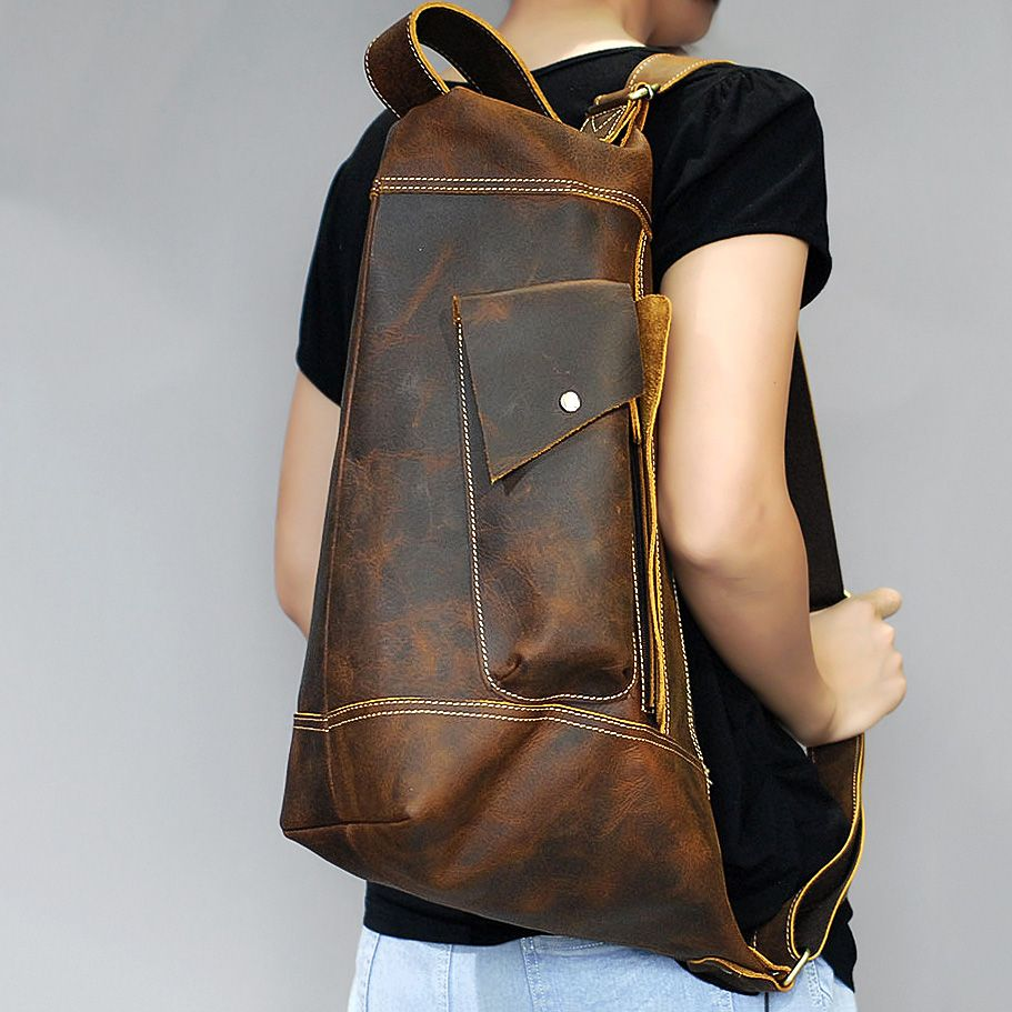 Vintage Crazy Horse genuine leather bag men handbag bolsas Sling chest bag for men crossbody casual messenge chest Day pack bag