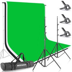 Neewer 8.5ft X 10ft/2.6M X 3M Background Stand Support System with 6ft X 9ft/1.8MX2.8M Backdrop(White,Black,Green)for Portrait