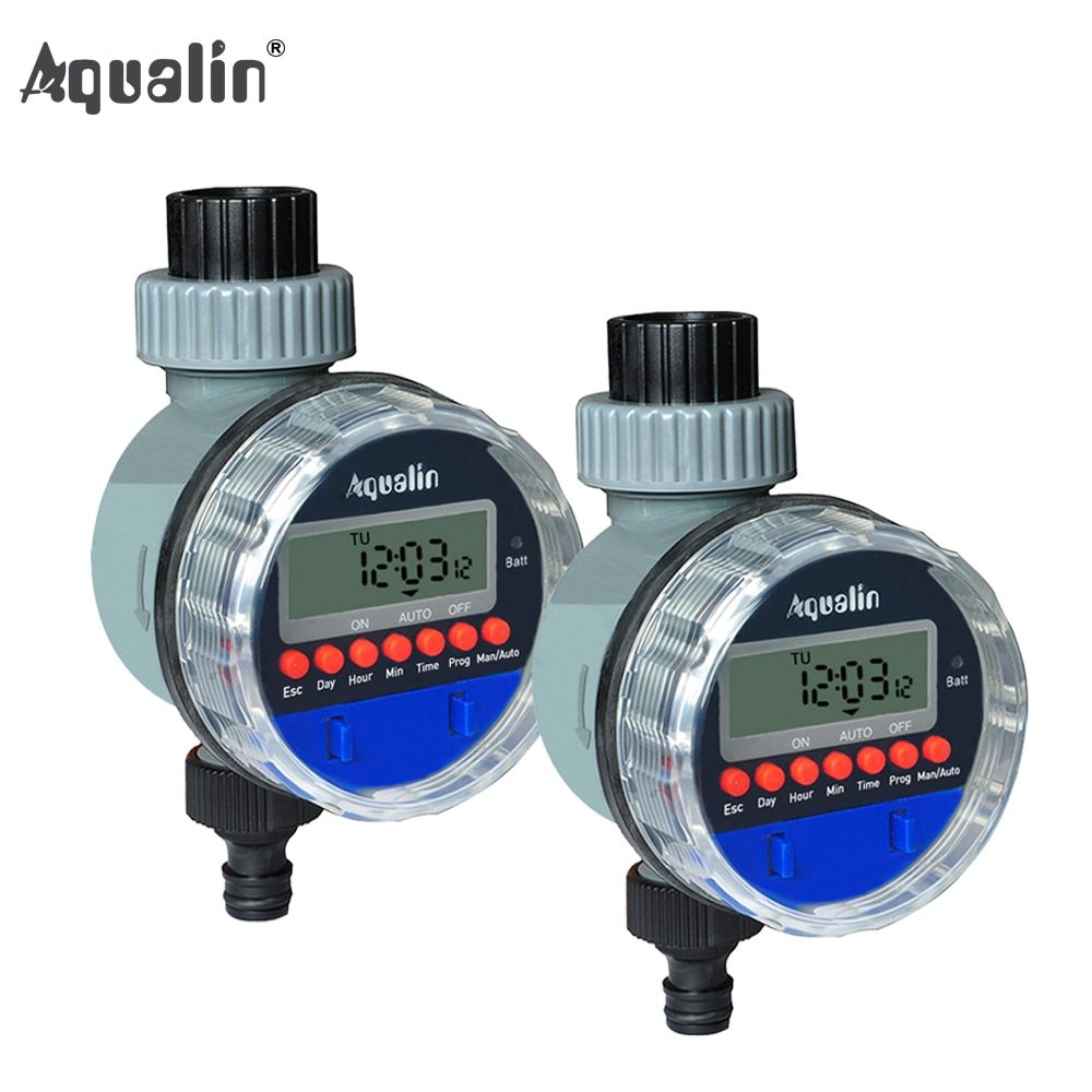 <font><b>2pcs</b></font> Electronic LCD Display Home Ball Valve Water Timer Garden Irrigation Watering Timer Controller System #21026-2