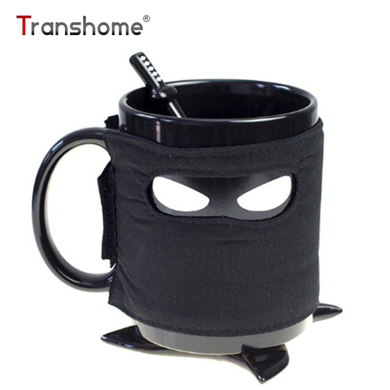 Transhome Creative Ninja Coffee Mug 350ml Travel Mug Coffee Cup With Coasters Stirring Spoon Ceramic Tea Cups And Mugs Funny Mug