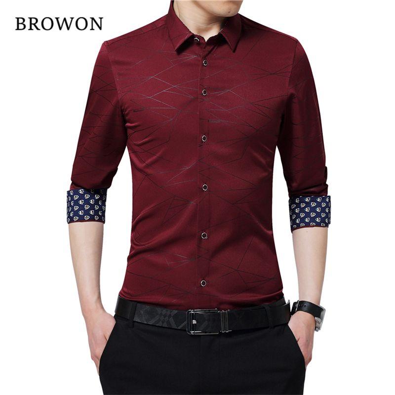 BROWON Lujo Marca Mens Camisas de Vestido de Los Hombres Camisa de Manga Larga Estampado Geométrico Camisa Del Partido Guapo Blusa De Moda para Hombre