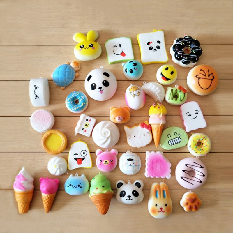 SMSNXY Squishy 30 pcs Slow Rising Jumbo Squeeze Ice Cream Toast Cake Bread Panda Cell DIY Soft Funny Phone Straps Toy Decoration