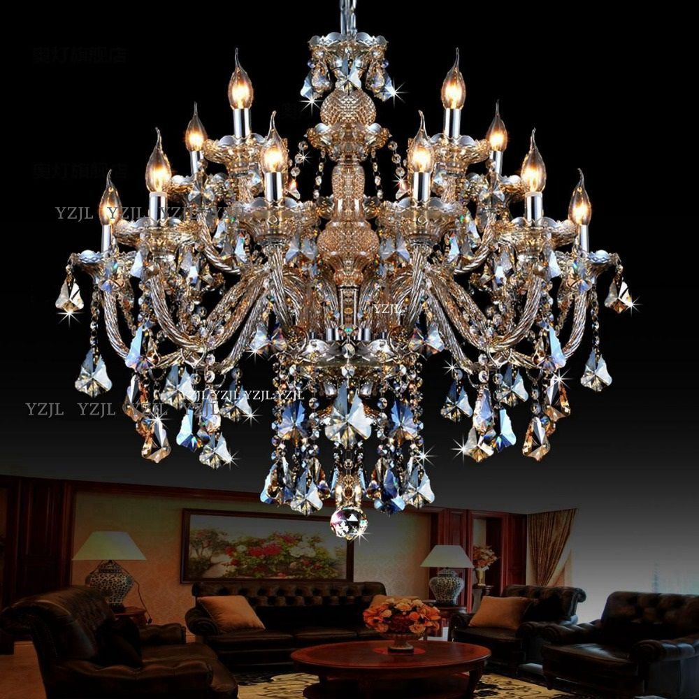 10/12/15 chandeliers adorn Cognac duplex chandelier crystal light Villa large double dining room living room light chandelier