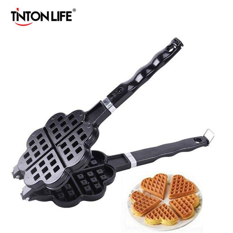 TINTON LIFE DIY Heart Shape Non-stick Metal Waffle Maker Waffle Mould kitchen Cake Baking Dish
