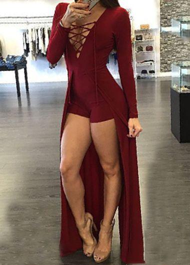 <font><b>2016</b></font> Fashion Women Jumpsuit Lace Up Design Hollow Out V-Neck Maxi Overlay Romper