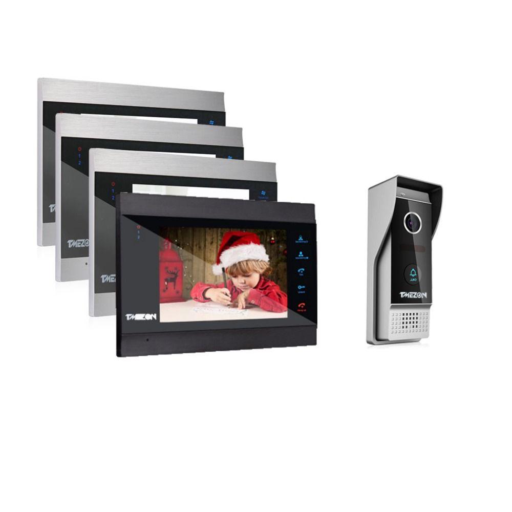 TMEZON 7 Inch Wireless/Wifi Smart IP Video Door Phone Intercom System with 4 Night Vision Monitor + 1 Rainproof Doorbell Camera