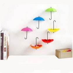 6 unids/set coloridos paraguas pared forma Ganchos paraguas forma pared Percheros pared organizador contenedores para cocina Baño