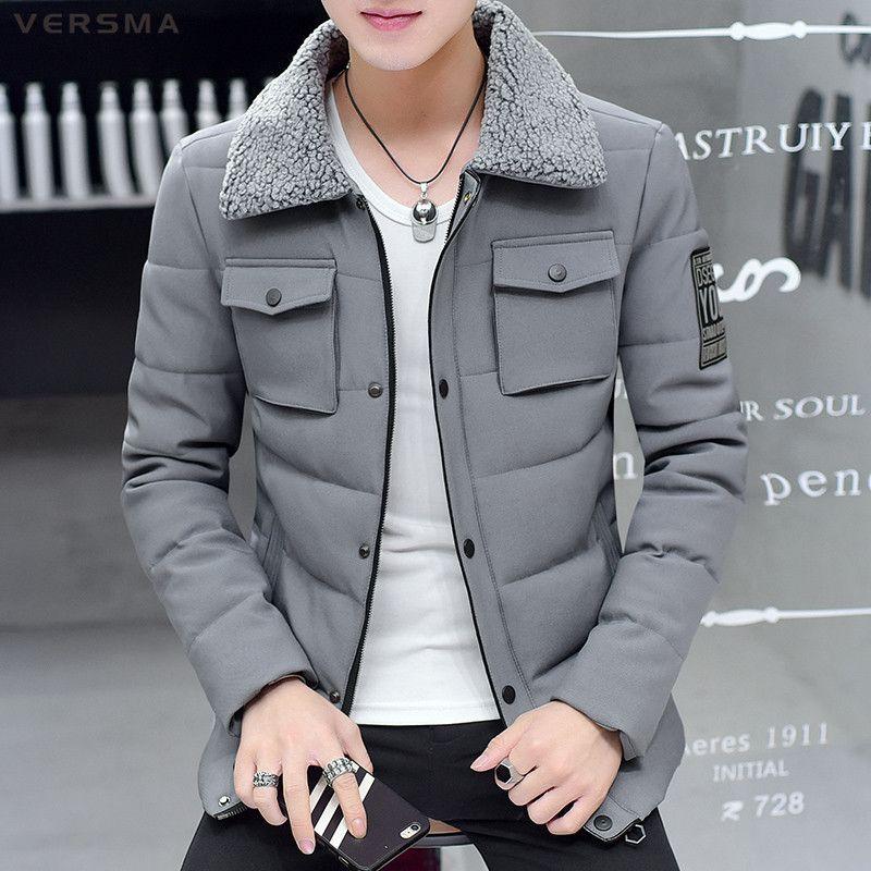 VERSMA 2017 Korean Slim Fit Winter Men Jacket Coat Parka Canada Men Winter Thick Parkas Jackets Coats Jaqueta Masculina Inverno