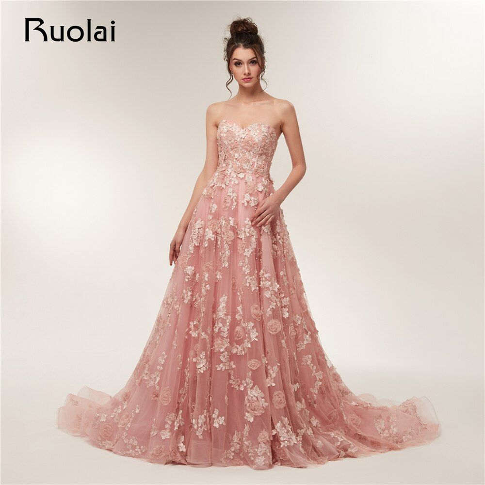 Vintage Evening Dresses Long 2018 Sweetheart Tulle Applique Flower Pearls Prom Party Gown Long train Vestido de Fiesta RE5