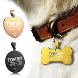 FLOWGOGO Anti-lost Stainless Steel Dog ID Tag Engraved Pet Cat Puppy Dog Collar Accessories Telephone Name Tags Pet ID Tags
