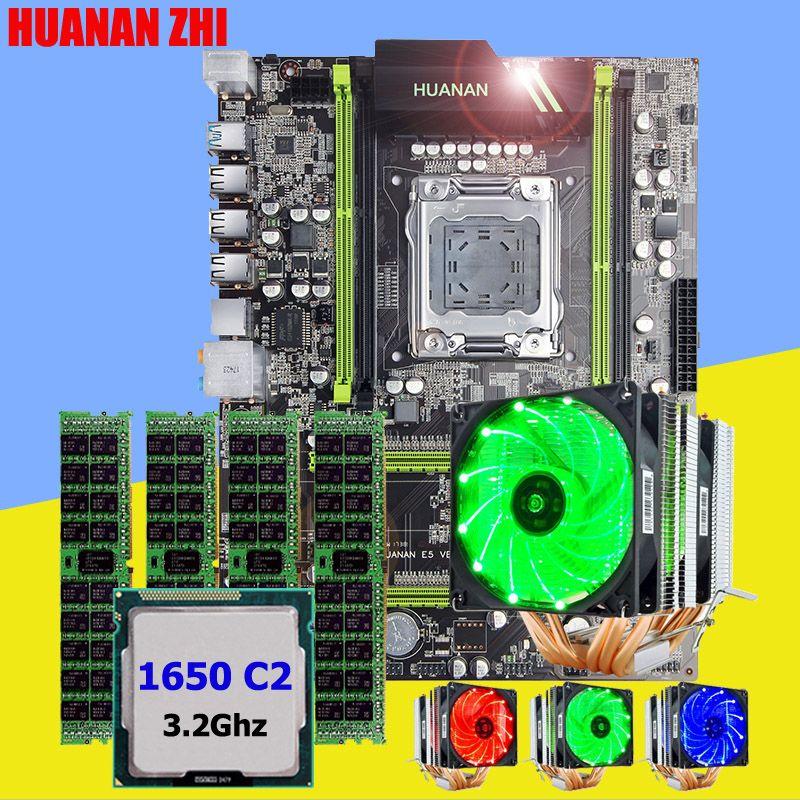 HUANAN ZHI X79 desktop motherboard with SSD M.2 slot CPU Xeon E5 1650 C2 3.2GHz 6 heatpipes cooler memory 16G(4*4G) DDR3 RECC