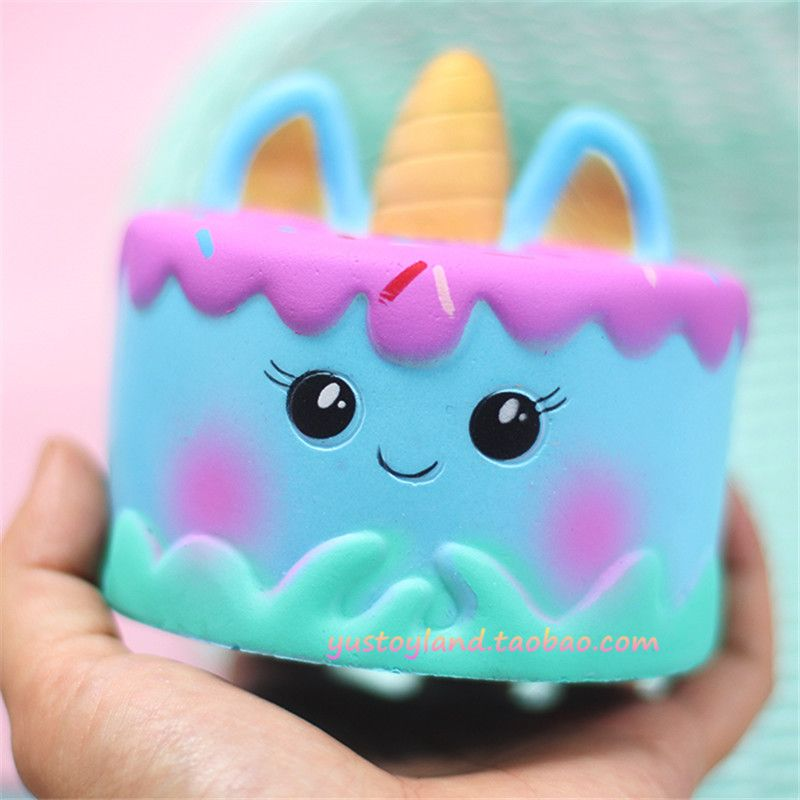 Cute Squishy Kawaii Cartoon Face Horn Cream Cake Slow Rising Super Squeeze Straps Scented Toy Kid Fun Gift Wholesales