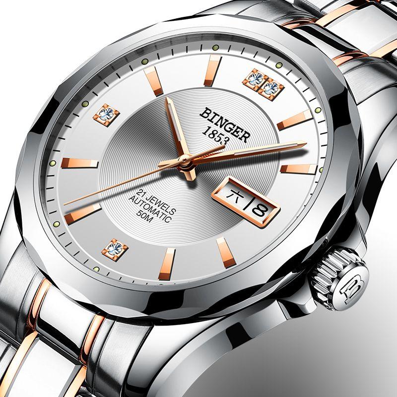 2018 New Binger Men Watches Luxury Brand Japan Miyota Automatic Mechanical Movement Wrist Sapphire Waterproof Watch Men B-8051-3