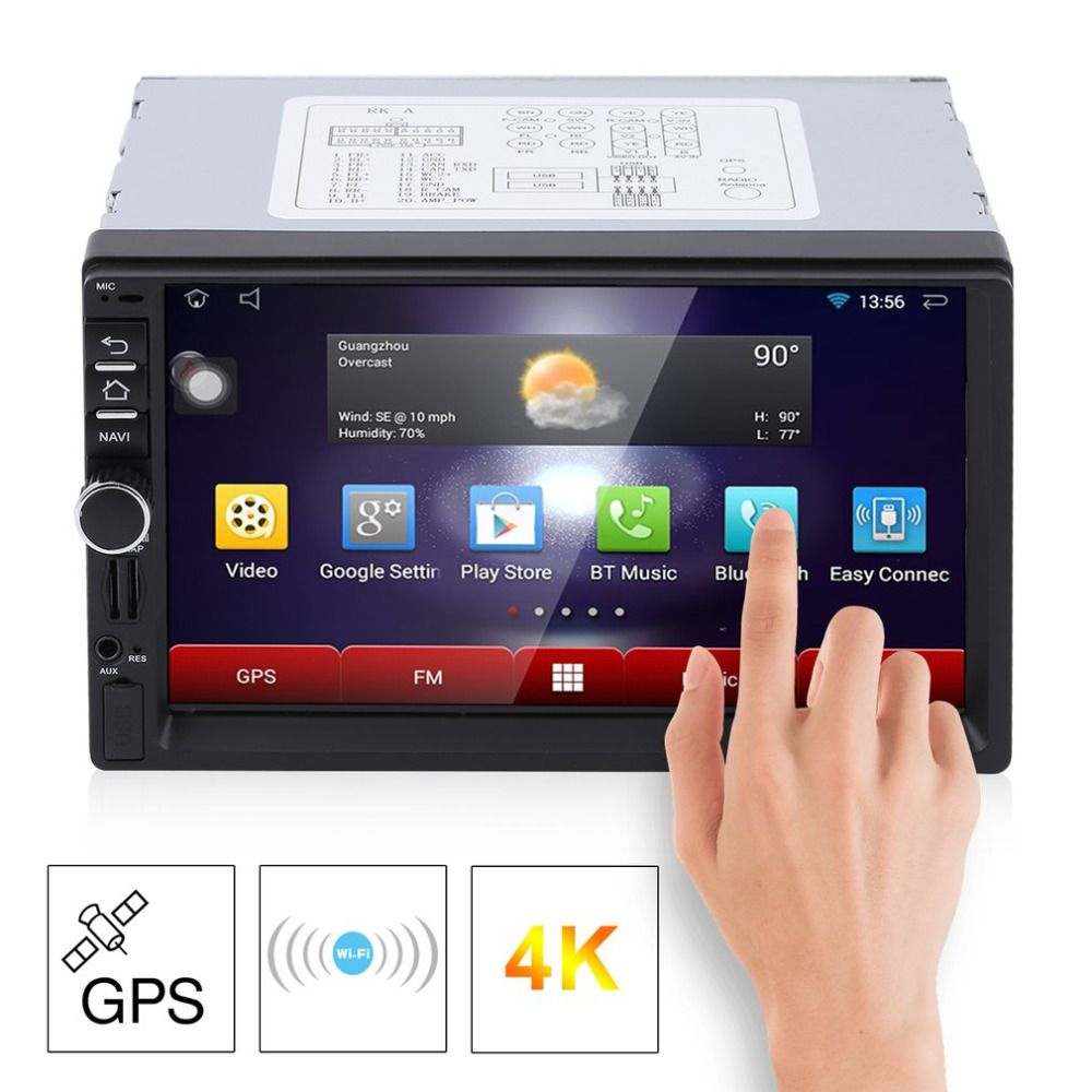 Car MP5 Player RK-7721A Professional 7 Inch HD 1024*600 Capacitive Screen 7 Colorful Light Function With European Map