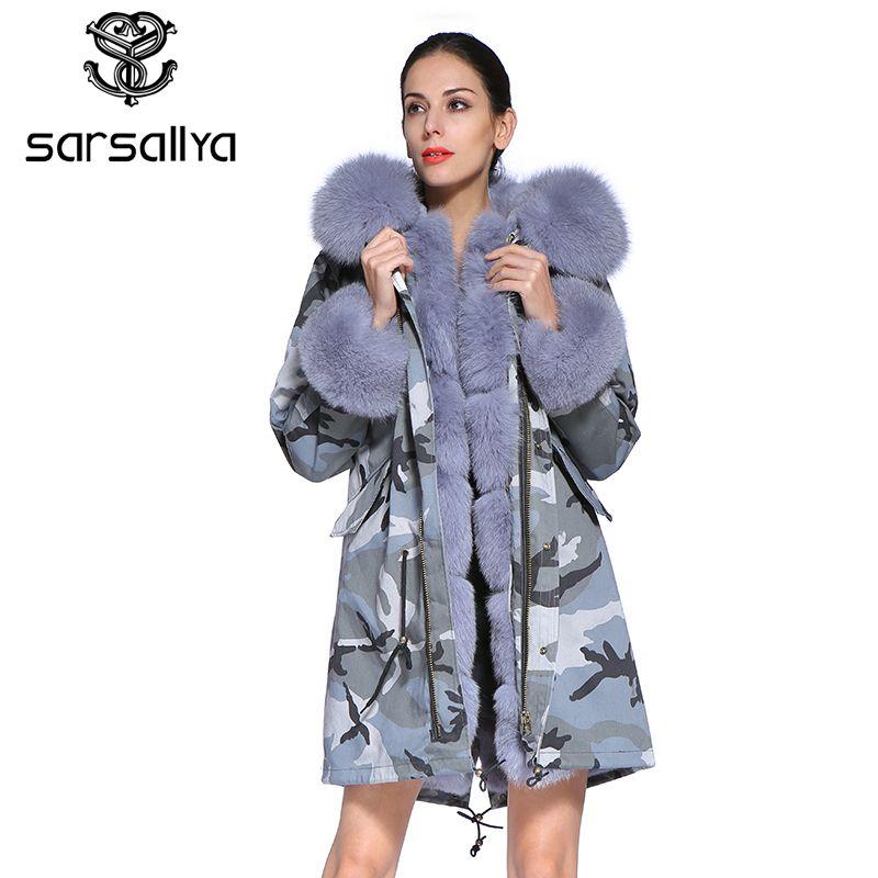 SARSALLYA 2016 neue lange Camouflage winter jacke frauen outwear dicke parkas natürliche echt fox pelz kragen mantel mit kapuze