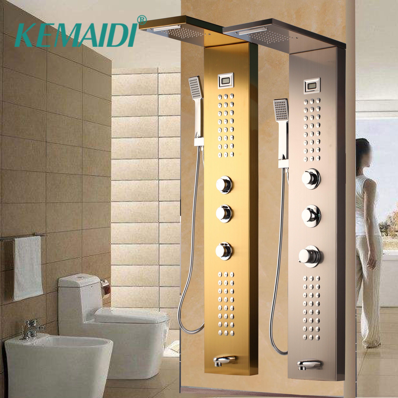 KEMAIDI Wasserfall Massage Jets Regen Dusche Spalte Thermostat Dusche Wasserhahn Turm W/Hand Dusche Badewanne Auslauf Dusche Panel